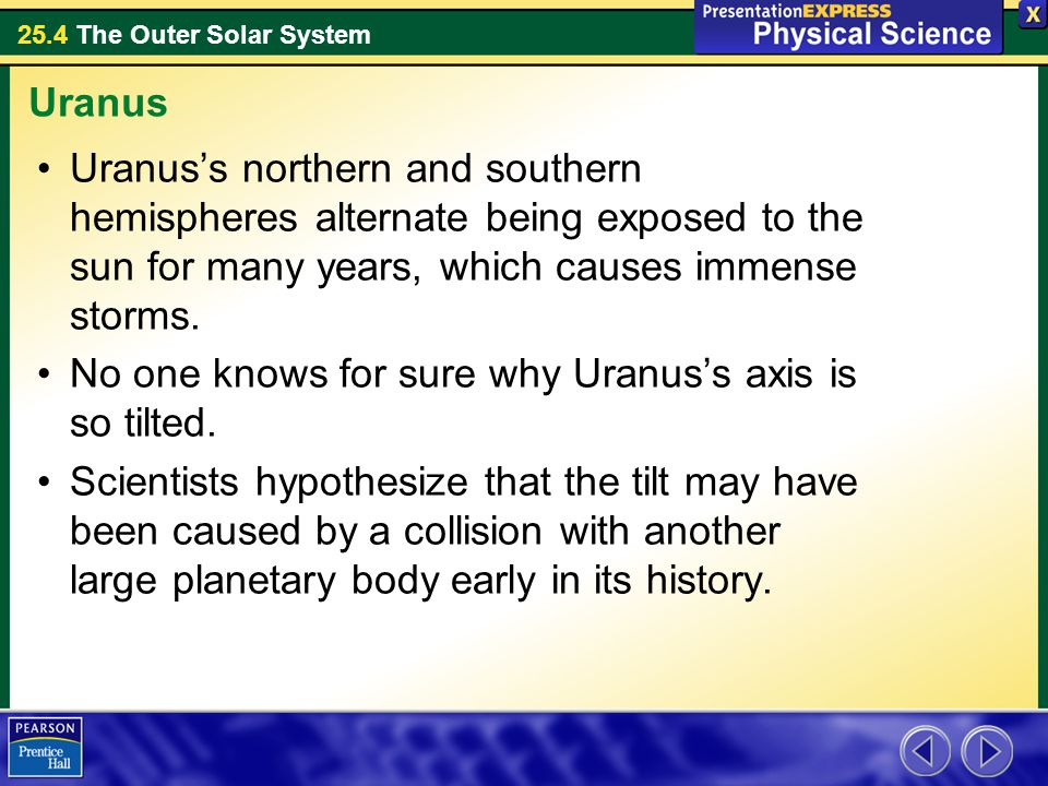 Uranus Uranus's northern and southern hemispheres alternate being exposed to the sun for many years, which causes immense storms.