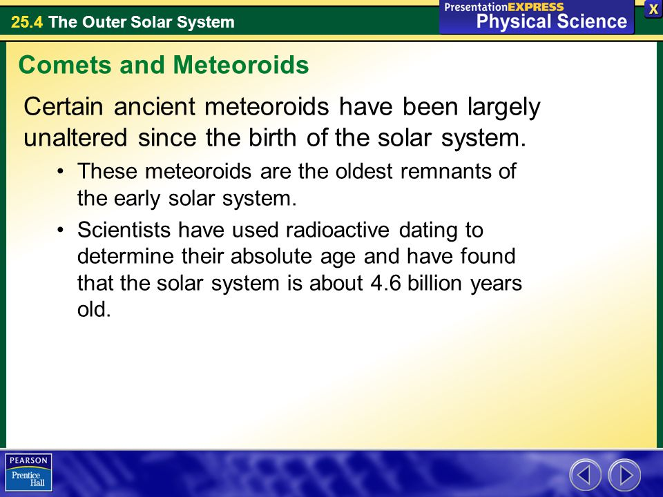 Comets and Meteoroids Certain ancient meteoroids have been largely unaltered since the birth of the solar system.