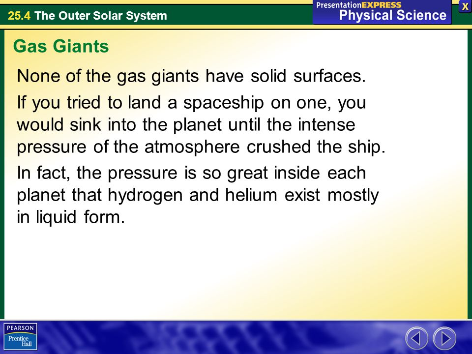 Gas Giants None of the gas giants have solid surfaces.
