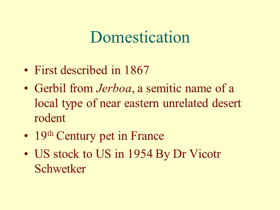 Domestication First described in 1867