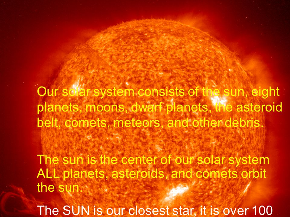 Our solar system consists of the sun, eight planets, moons, dwarf planets, the asteroid belt, comets, meteors, and other debris.