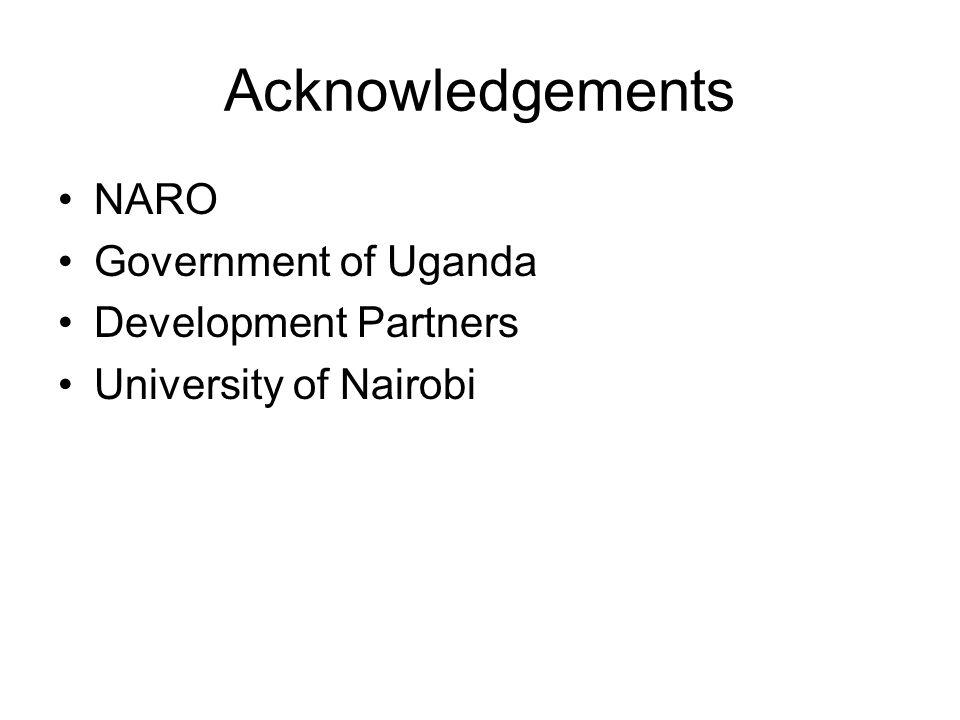 Acknowledgements NARO Government of Uganda Development Partners
