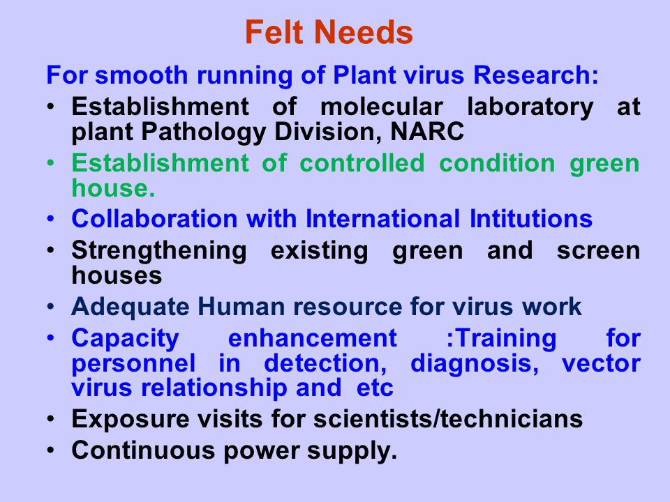 Felt Needs For smooth running of Plant virus Research:
