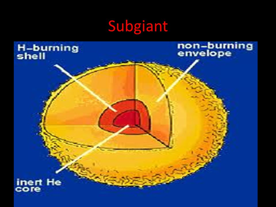 Subgiant When a low mass star fuses the majority of its hydrogen, it begins to expand and cool forming a subgiant.