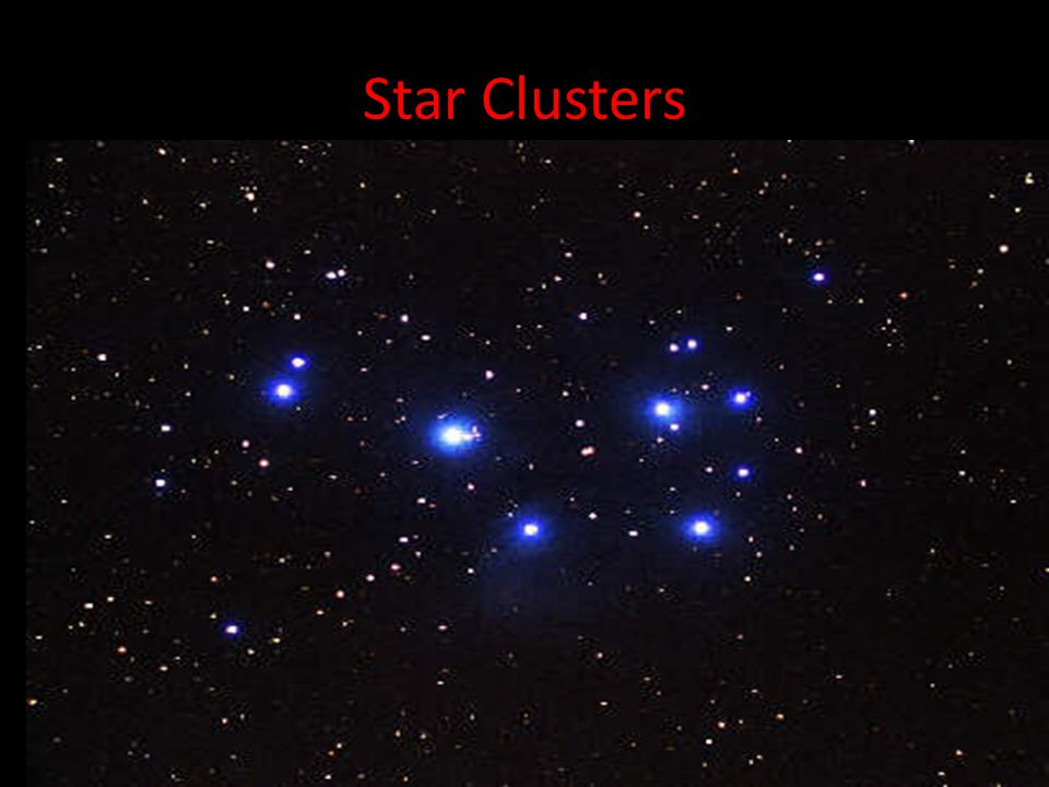 Star Clusters A closely knit collection of stars, such as Pleiades (seven sisters).