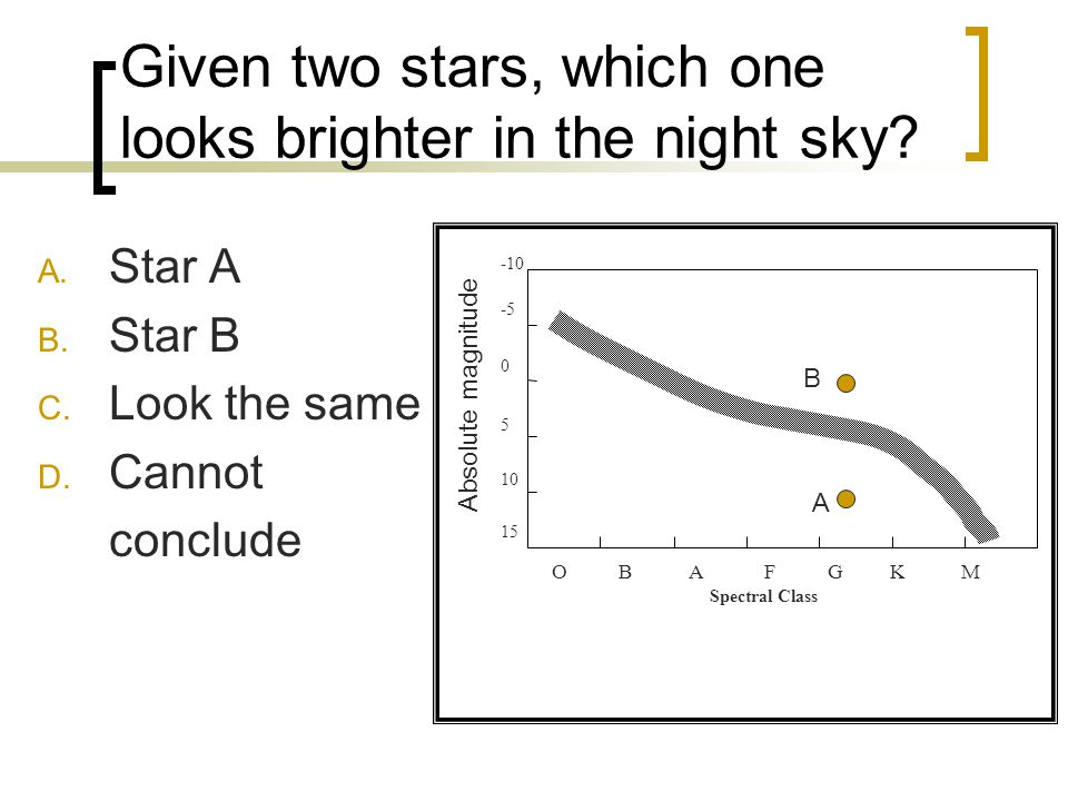 Given two stars, which one looks brighter in the night sky