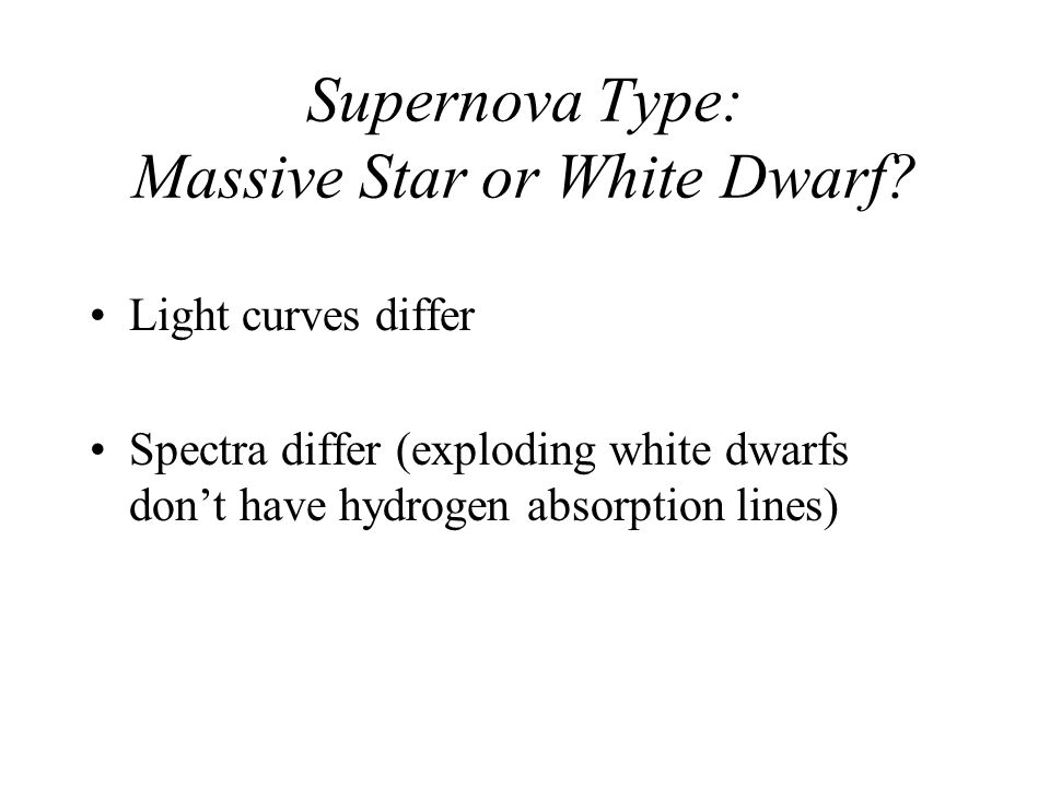 Supernova Type: Massive Star or White Dwarf