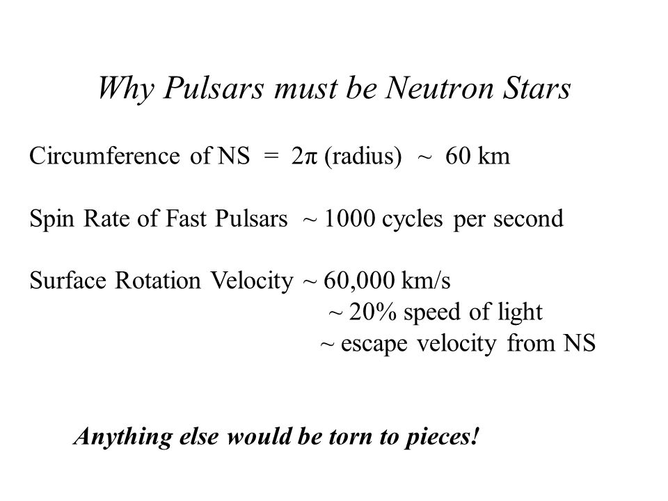 Why Pulsars must be Neutron Stars