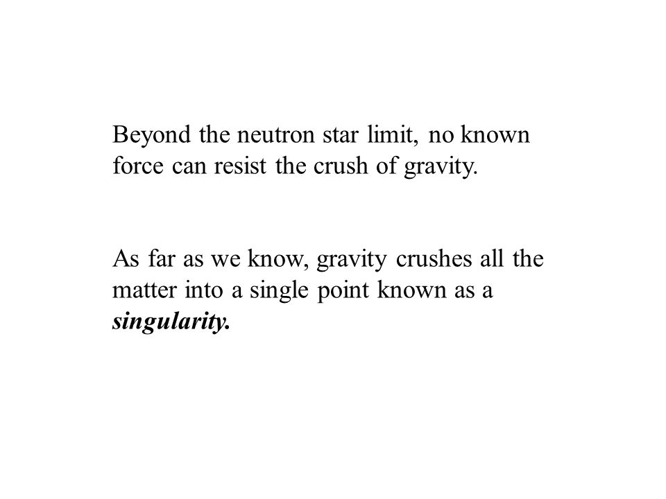 Beyond the neutron star limit, no known force can resist the crush of gravity.
