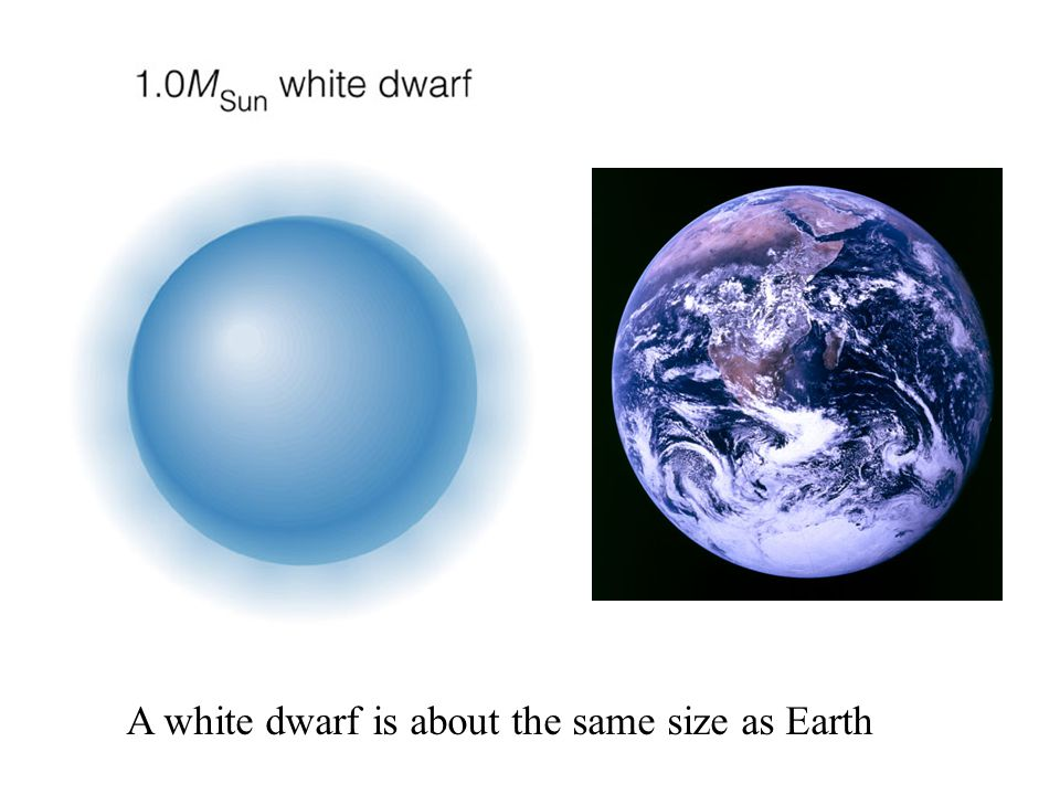 A white dwarf is about the same size as Earth