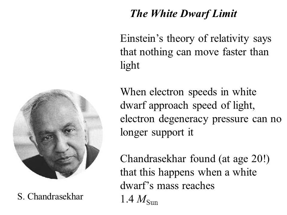 The White Dwarf Limit Einstein's theory of relativity says that nothing can move faster than light.