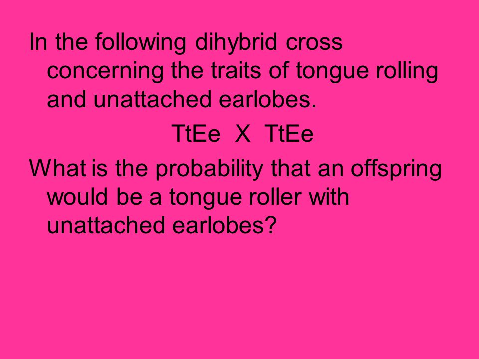In the following dihybrid cross concerning the traits of tongue rolling and unattached earlobes.