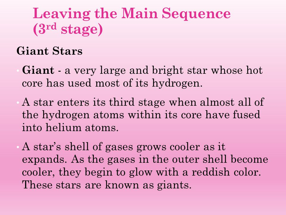 Leaving the Main Sequence (3rd stage)