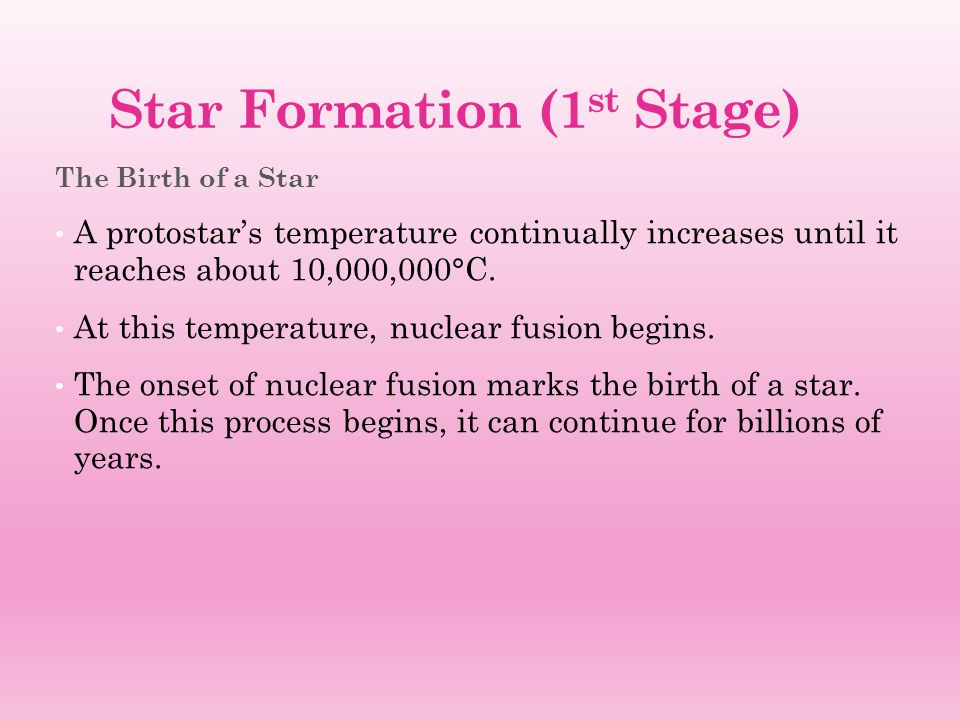 Star Formation (1st Stage)
