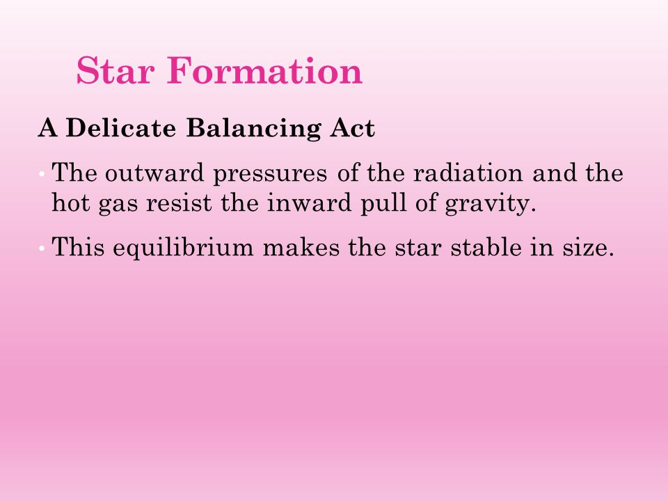 Star Formation A Delicate Balancing Act