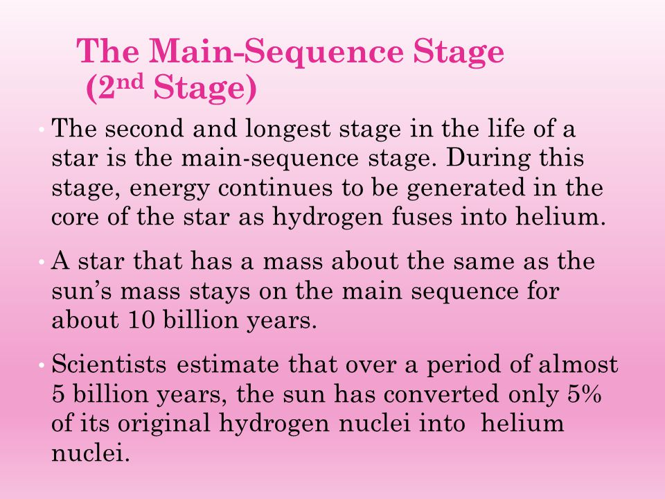 The Main-Sequence Stage (2nd Stage)