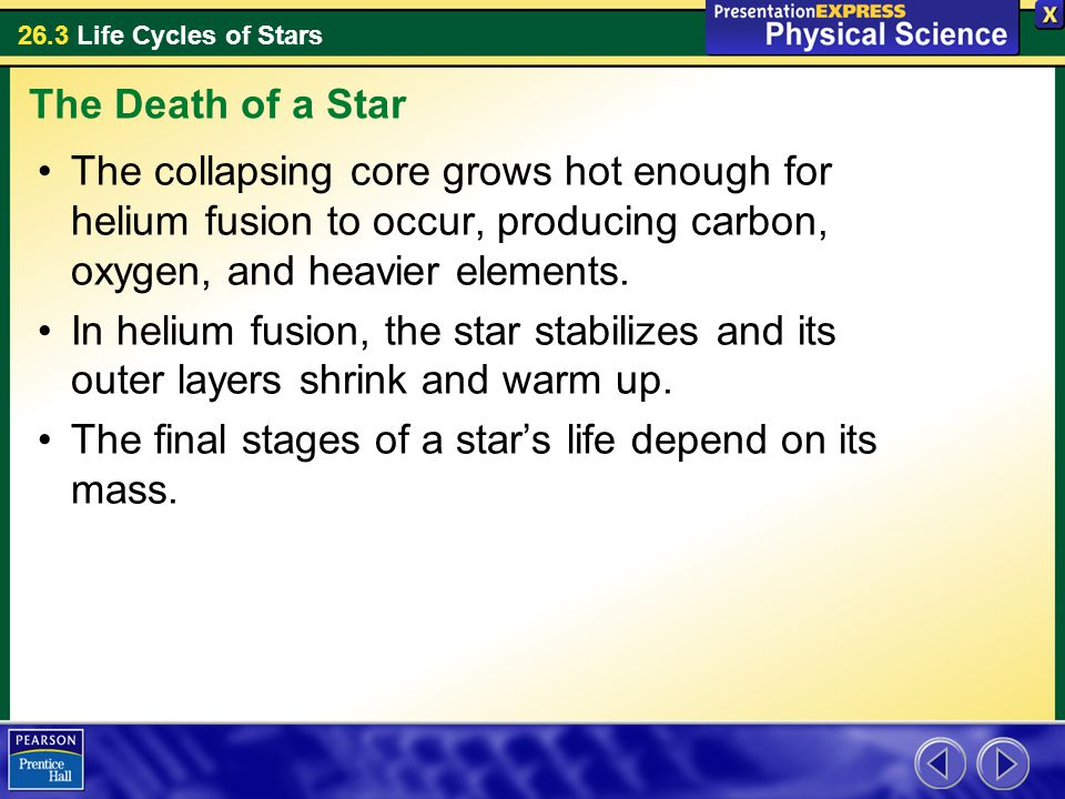 The Death of a Star The collapsing core grows hot enough for helium fusion to occur, producing carbon, oxygen, and heavier elements.