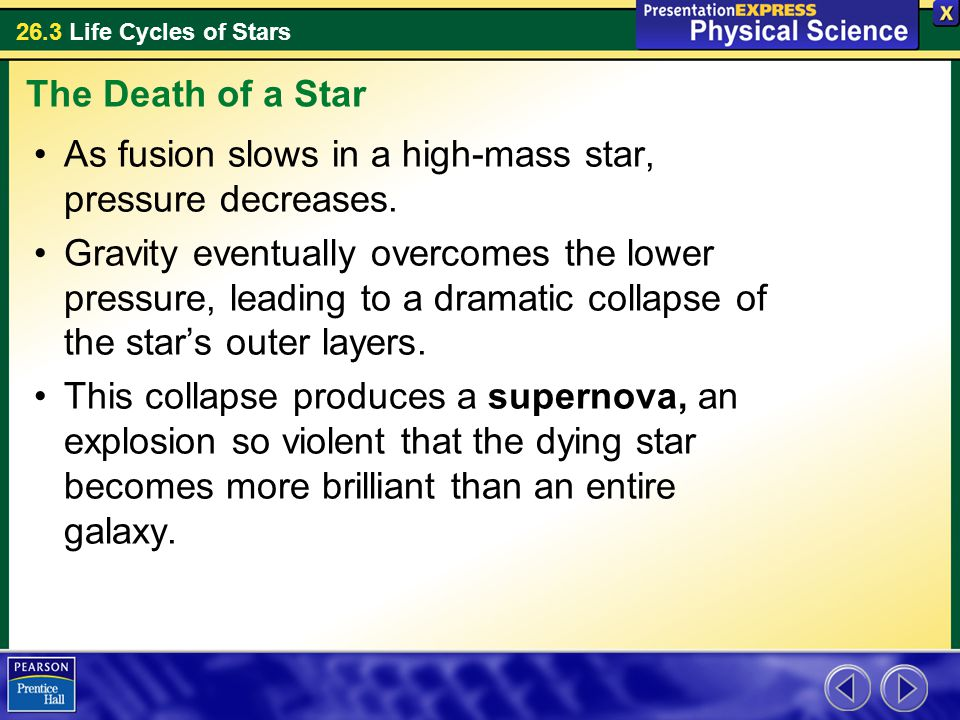 The Death of a Star As fusion slows in a high-mass star, pressure decreases.