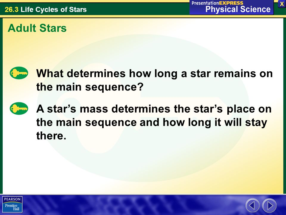 Adult Stars What determines how long a star remains on the main sequence