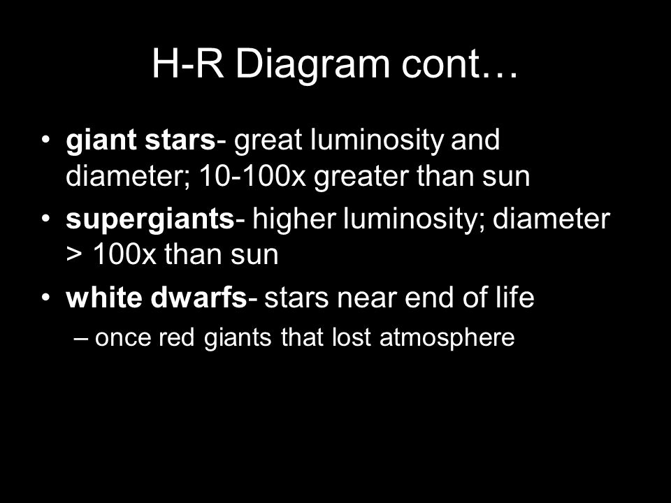 H-R Diagram cont… giant stars- great luminosity and diameter; 10-100x greater than sun. supergiants- higher luminosity; diameter > 100x than sun.