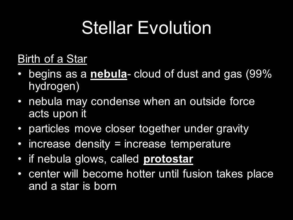 Stellar Evolution Birth of a Star