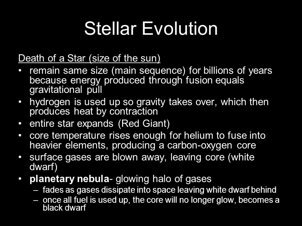Stellar Evolution Death of a Star (size of the sun)