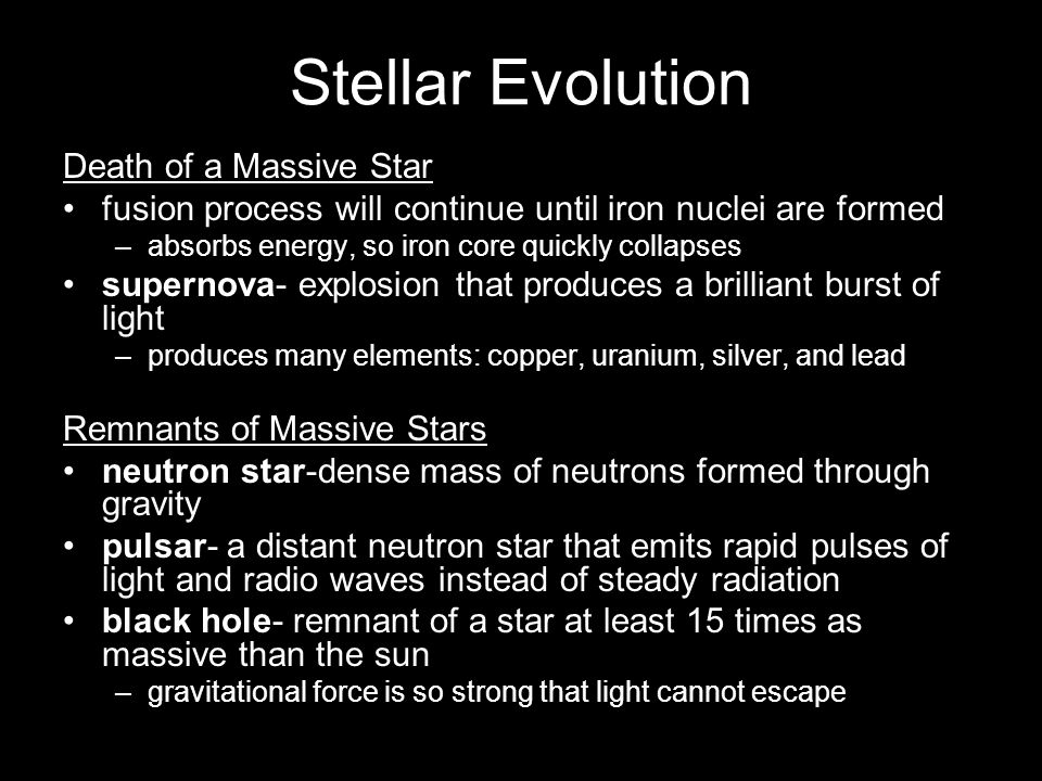 Stellar Evolution Death of a Massive Star