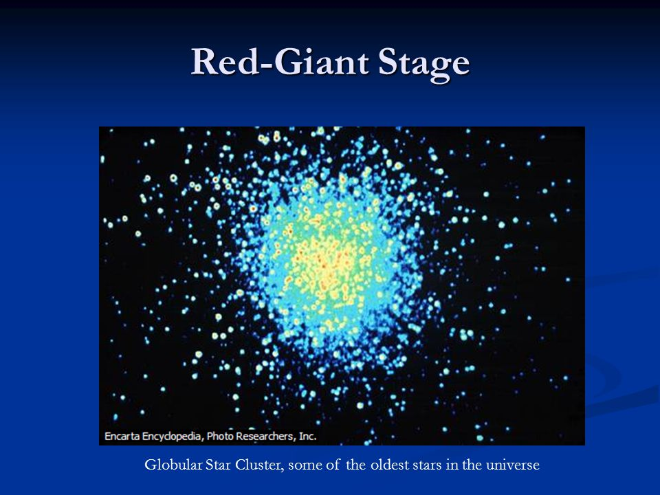 Red-Giant Stage Globular Star Cluster, some of the oldest stars in the universe