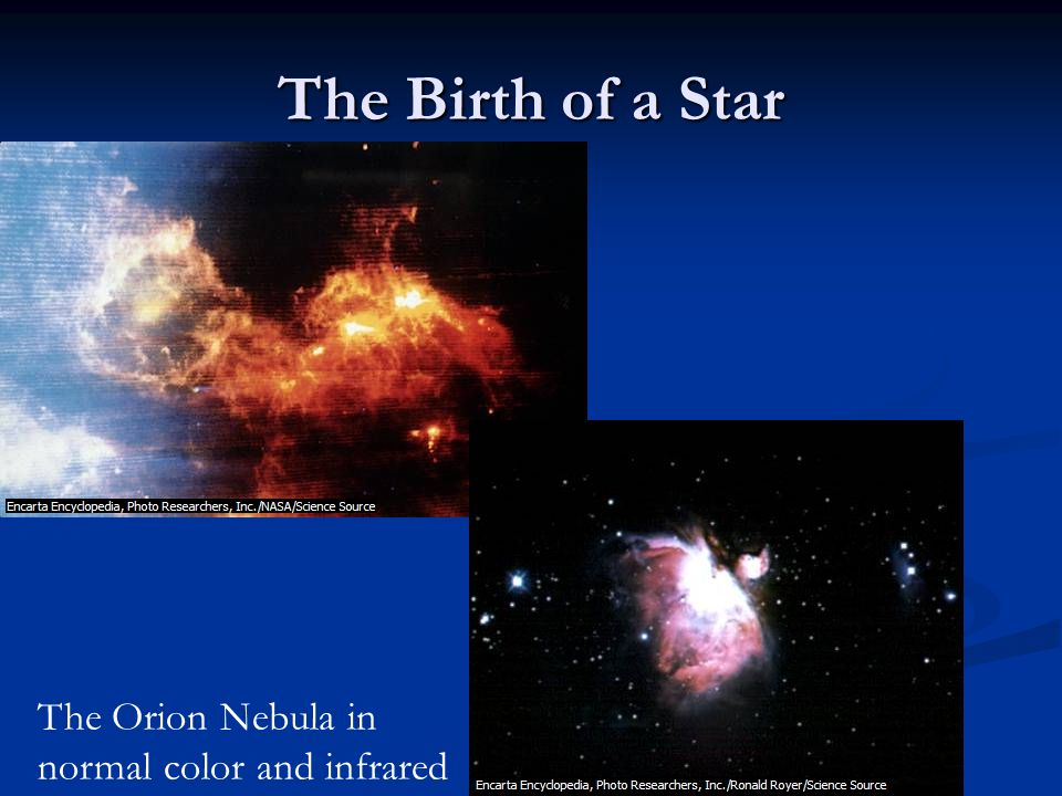 The Birth of a Star The Orion Nebula in normal color and infrared