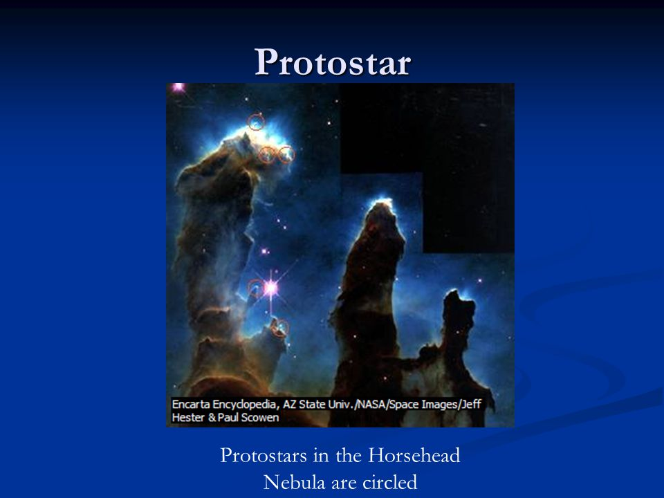 Protostars in the Horsehead Nebula are circled