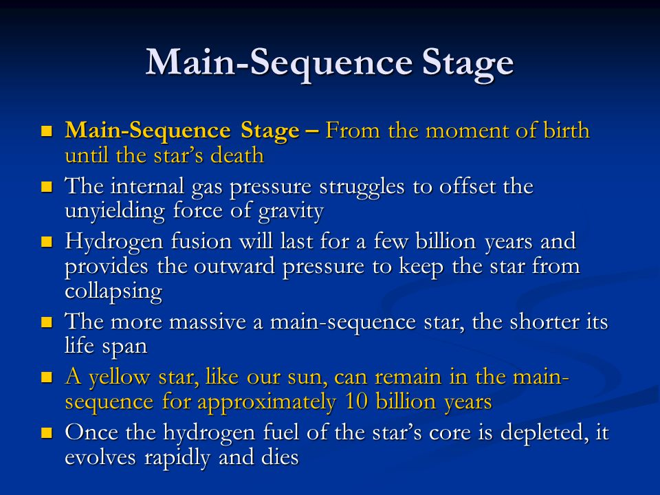Main-Sequence Stage Main-Sequence Stage – From the moment of birth until the star's death.