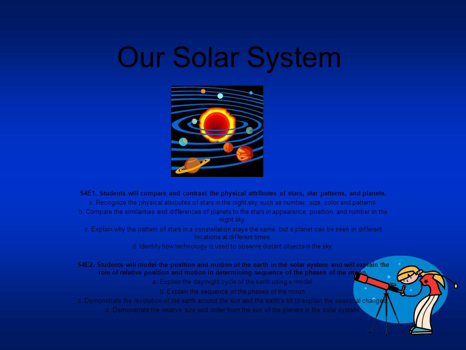 Our Solar System S4E1. Students will compare and contrast the physical attributes of stars, star patterns, and planets.