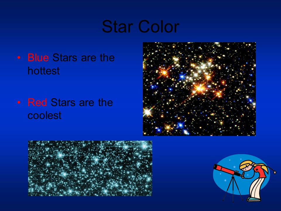 Star Color Blue Stars are the hottest Red Stars are the coolest