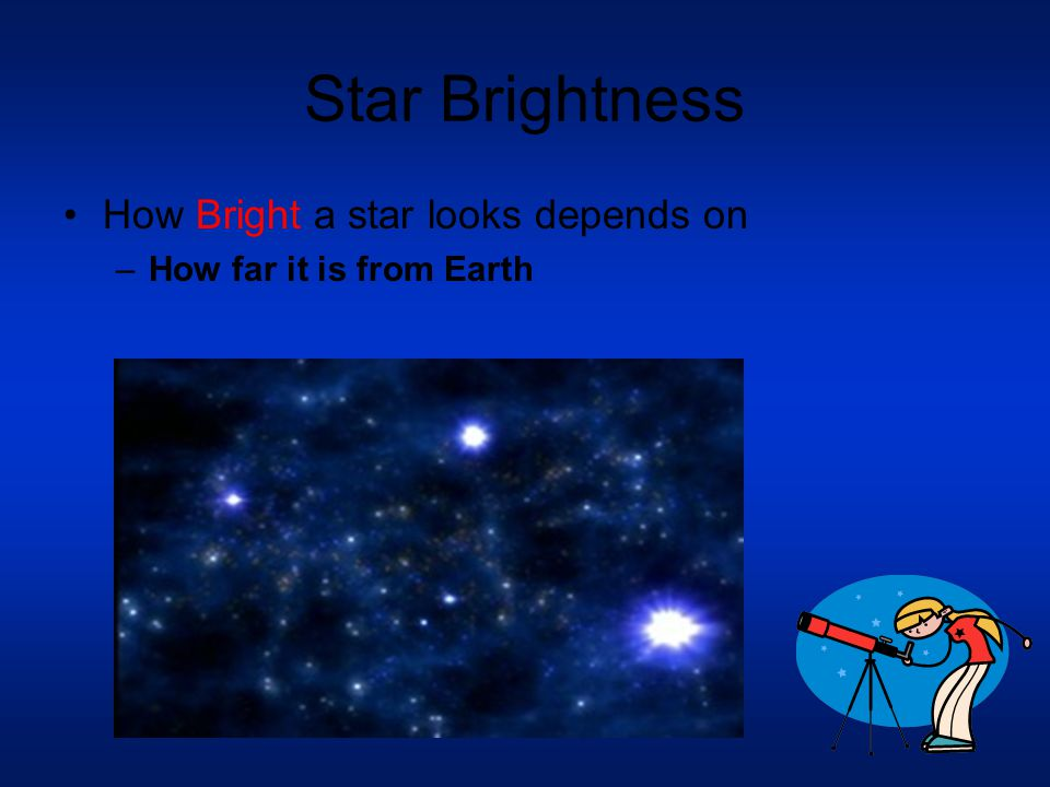 Star Brightness How Bright a star looks depends on