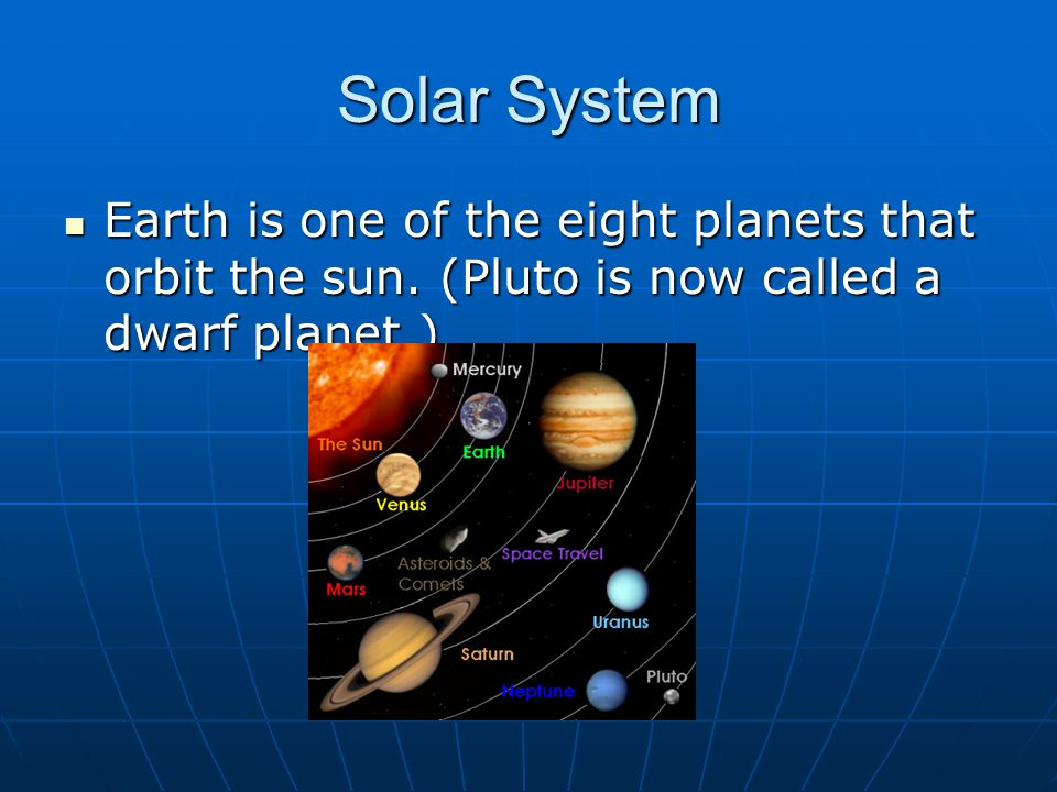 Solar System Earth is one of the eight planets that orbit the sun.