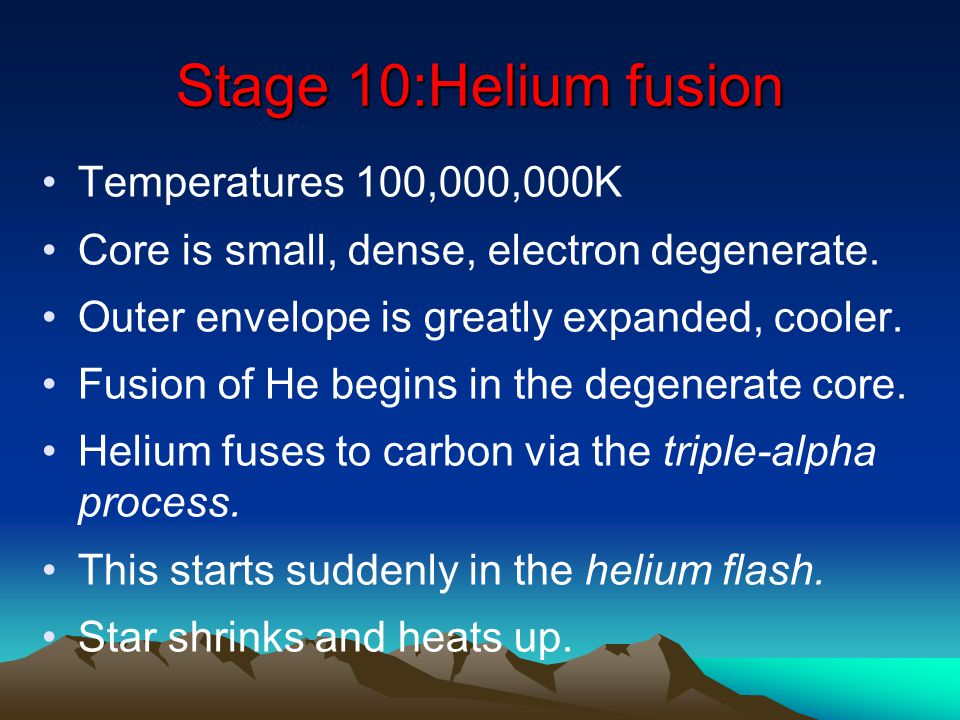Stage 10:Helium fusion Temperatures 100,000,000K