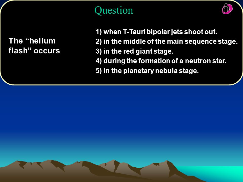 Question The helium flash occurs