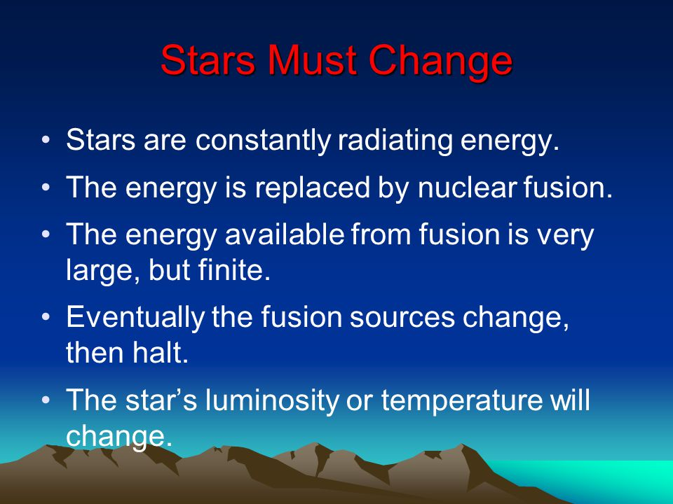 Stars Must Change Stars are constantly radiating energy.