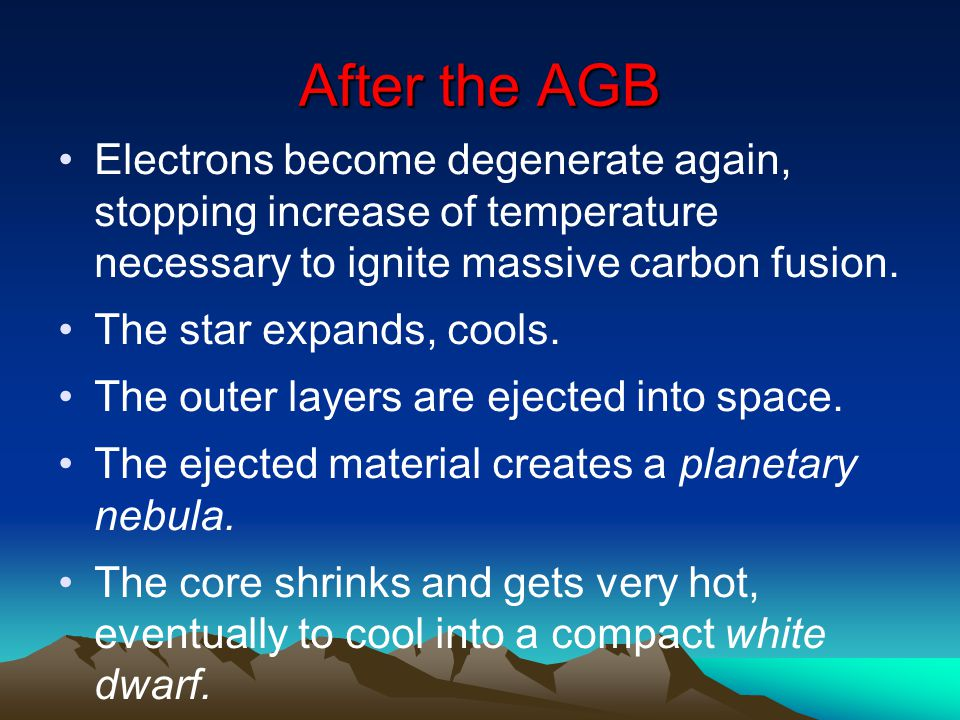After the AGB Electrons become degenerate again, stopping increase of temperature necessary to ignite massive carbon fusion.