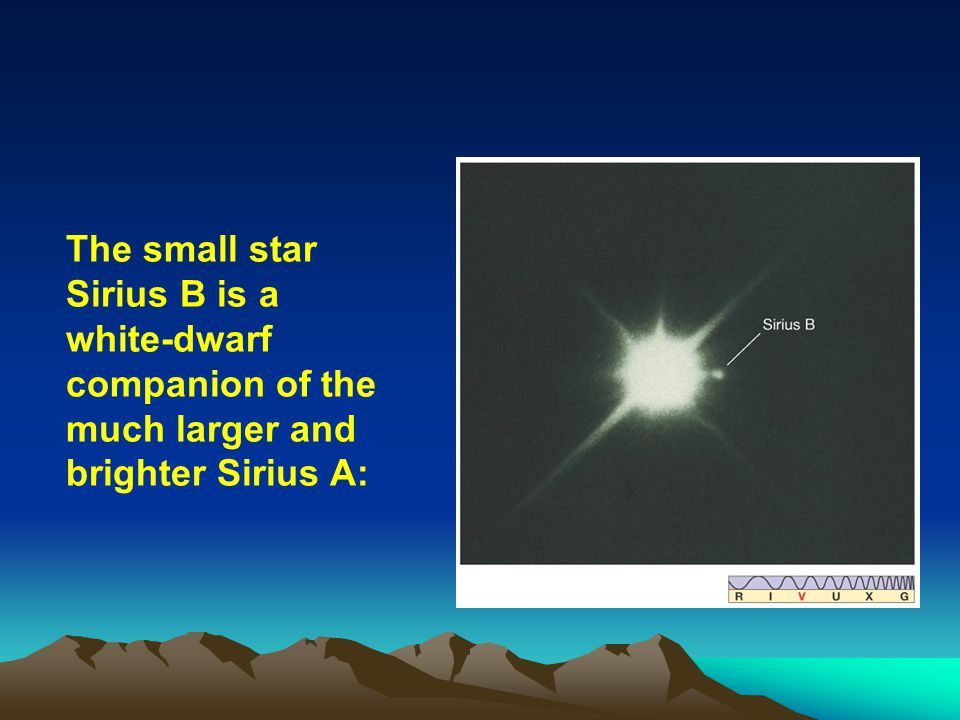 The small star Sirius B is a white-dwarf companion of the much larger and brighter Sirius A: