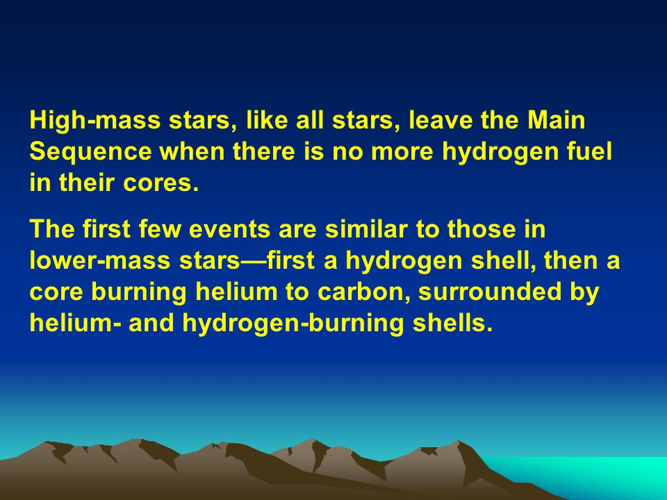 High-mass stars, like all stars, leave the Main Sequence when there is no more hydrogen fuel in their cores.