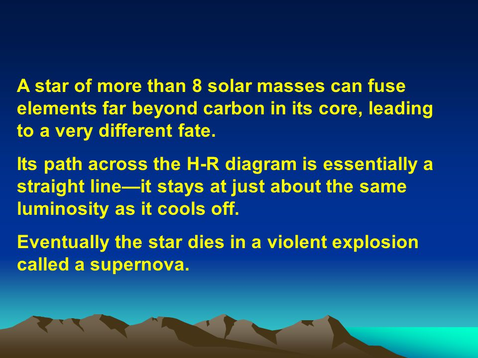 A star of more than 8 solar masses can fuse elements far beyond carbon in its core, leading to a very different fate.