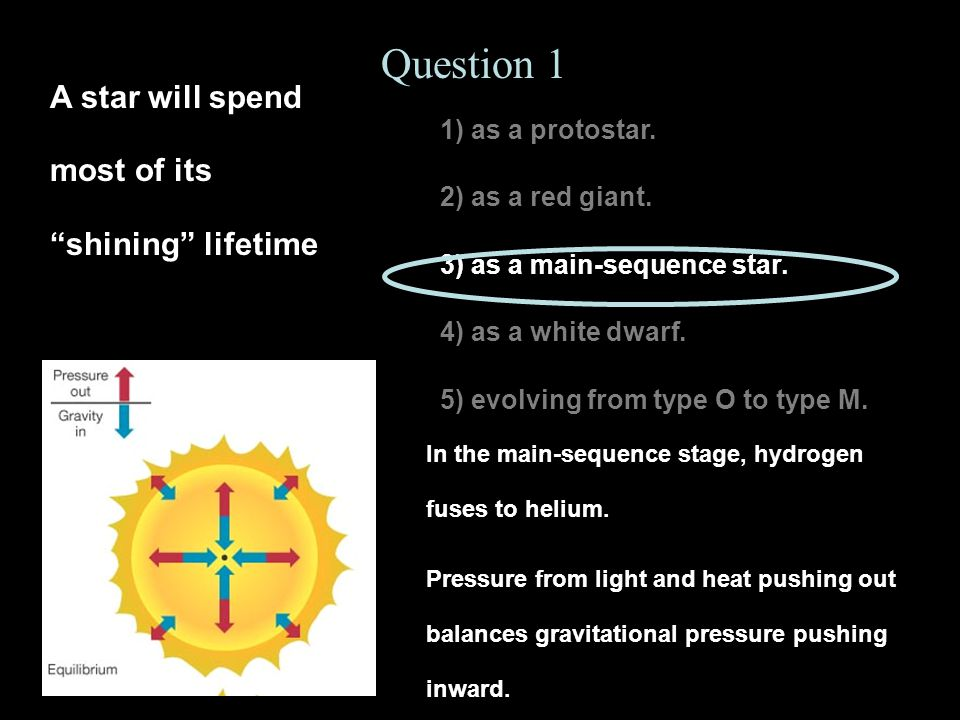 Question 1 A star will spend most of its shining lifetime