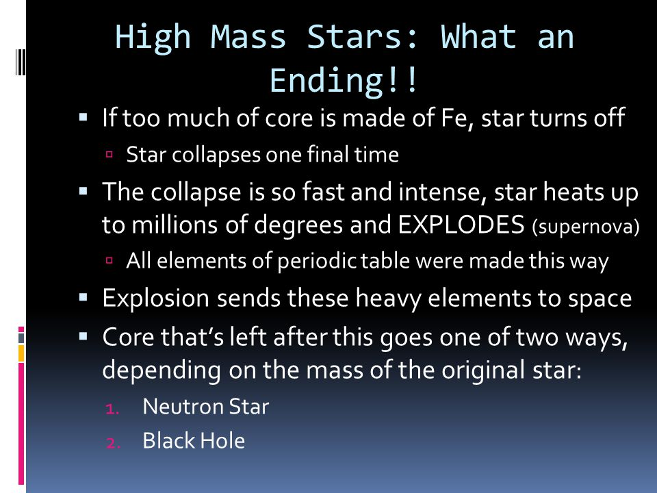 High Mass Stars: What an Ending!!