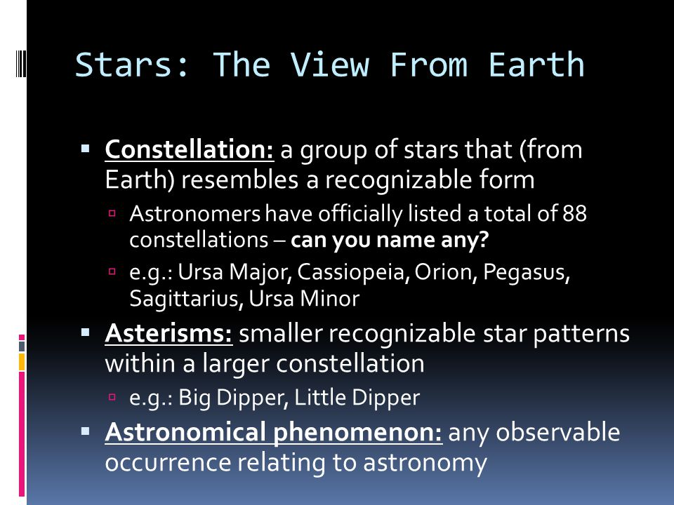 Stars: The View From Earth
