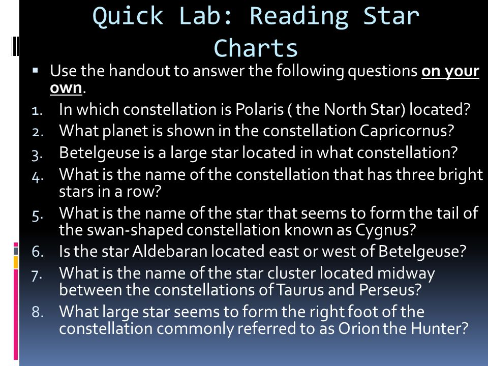 Quick Lab: Reading Star Charts
