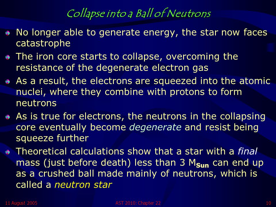 Collapse into a Ball of Neutrons
