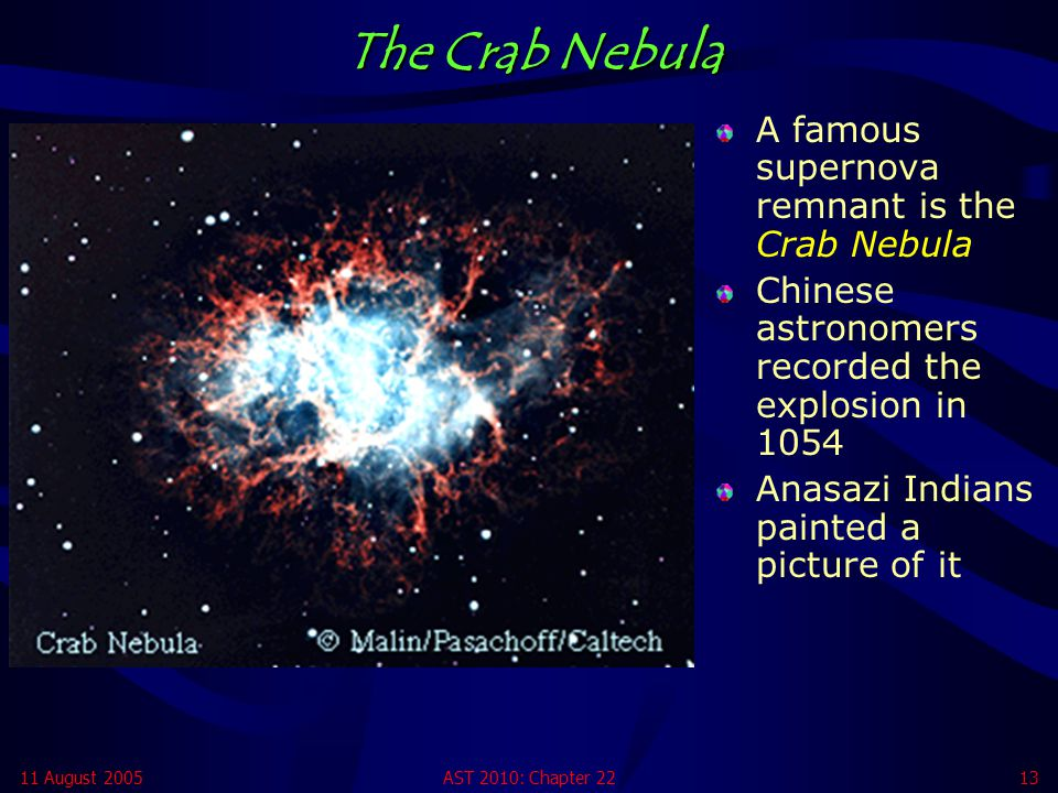 The Crab Nebula A famous supernova remnant is the Crab Nebula