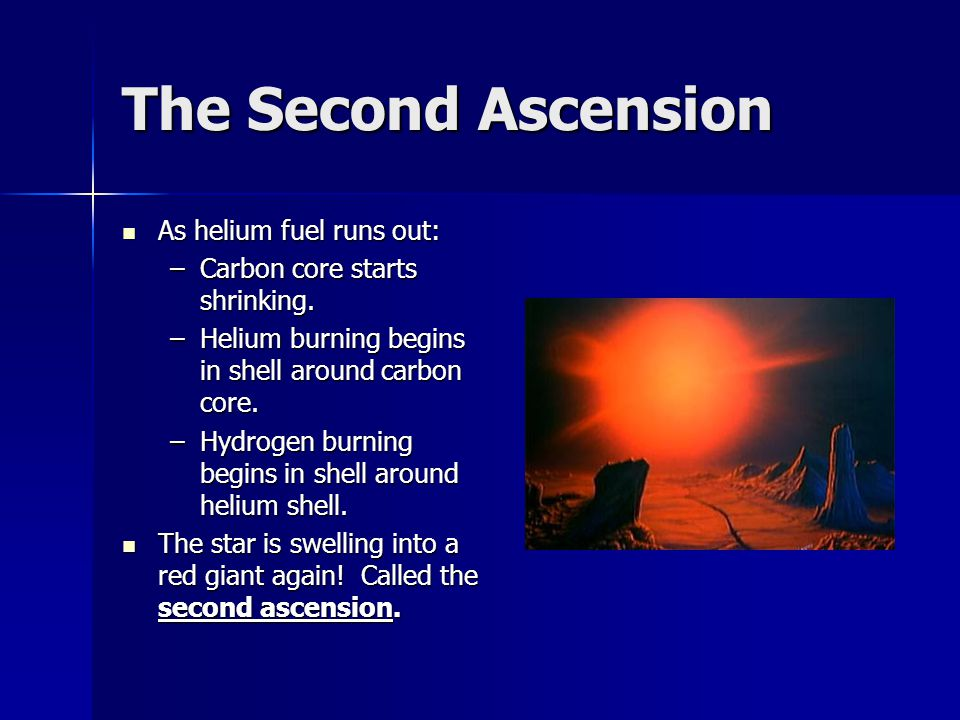 The Second Ascension As helium fuel runs out: