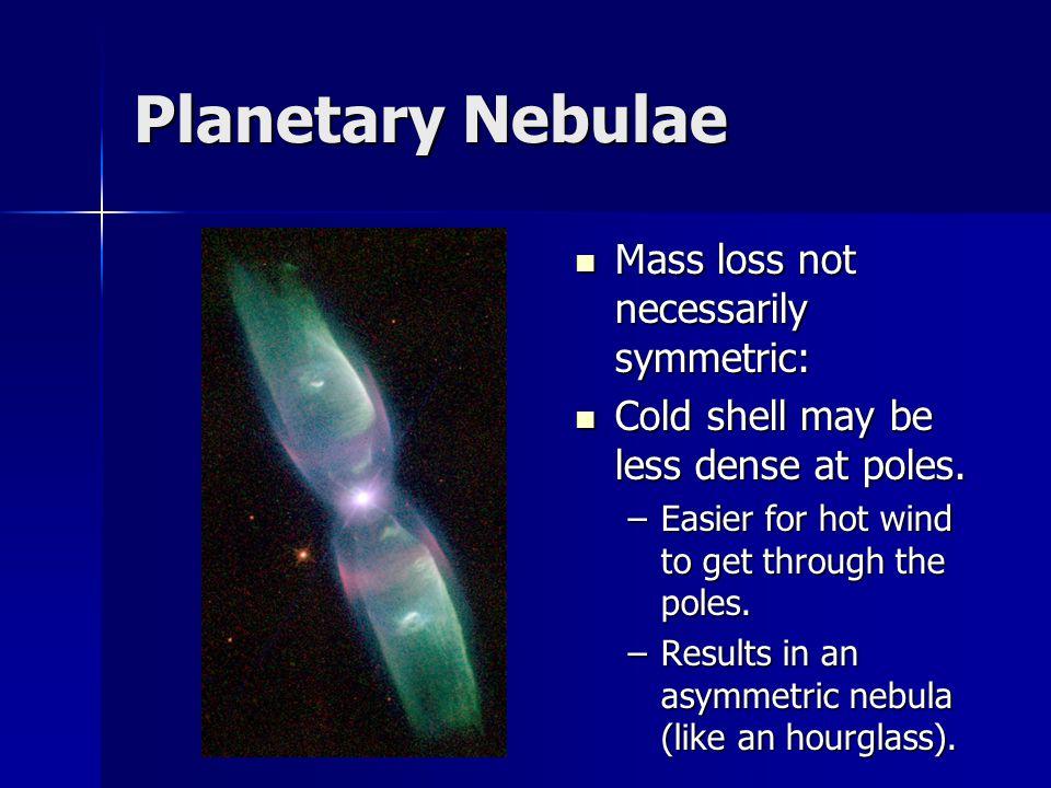 Planetary Nebulae Mass loss not necessarily symmetric: